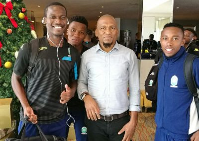 Amazulu Captain Thapelo Nyongo and Augustine Ramphela with the GS of SAFPU after a brief meeting at the airport.