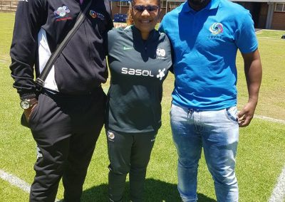 Banyana-Banyana coach Desiree Ellis with SAFPU Leaders Thulaganyo and Nhlanhla