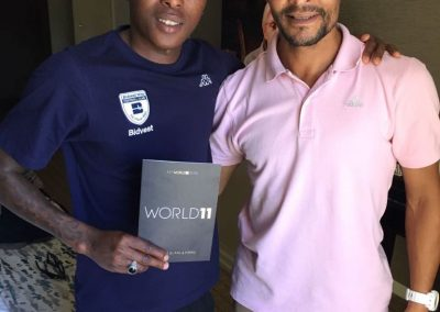 Ellias Pelembe and Brent carelse the cape Town Coordinator and former mamelodi Sundowns player