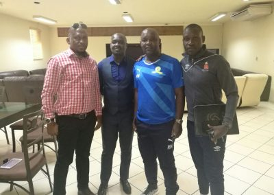 Strengthening SAFPUs Projects Champions League Champion Coach Pitso Mosimane and Sydney of Standard Bank