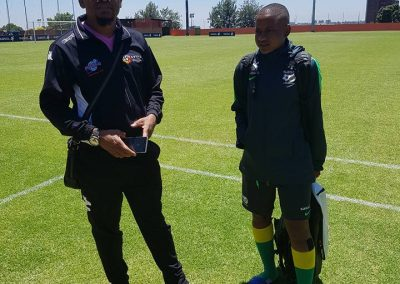 Thulaganyo with Banyana-Banyana player