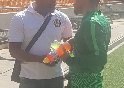 Keagan Dolly having discussions with former teamate Nhlanhla Shabalala in Bafana Camp.