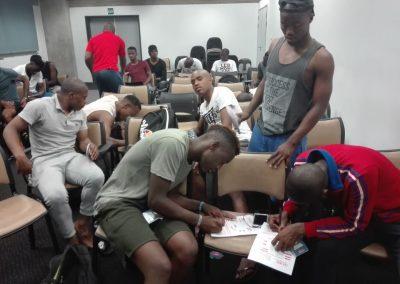 Mthata Bucs F.C.Players signing SAFPU membership forms