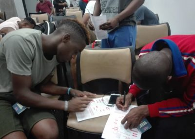 Players signing SAFPU membership forms (3)
