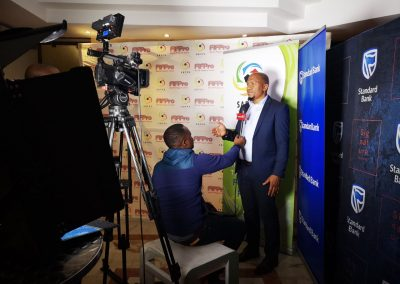 SAFPU president bein interviewed at SAFPU Standard Bank partnership launch