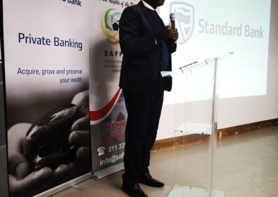 Standard Bank Regional President Mr. Chavalala making a presentation